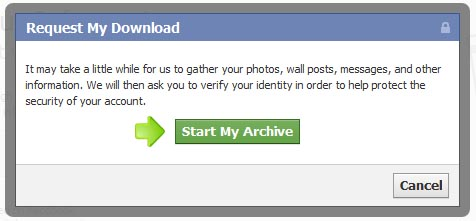 backup facebook - confirm