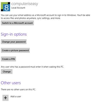 การตั้งค่า PC Settings/Users