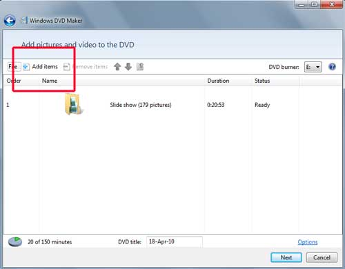 Add Items Microsoft DVD Maker