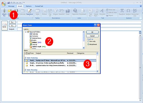Attached Mail in Microsoft Outlook 2007