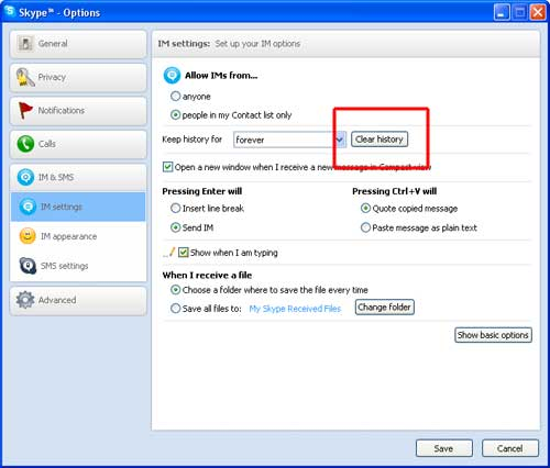 how to clear skype name