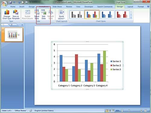Edit Chart in PowerPoint 2007