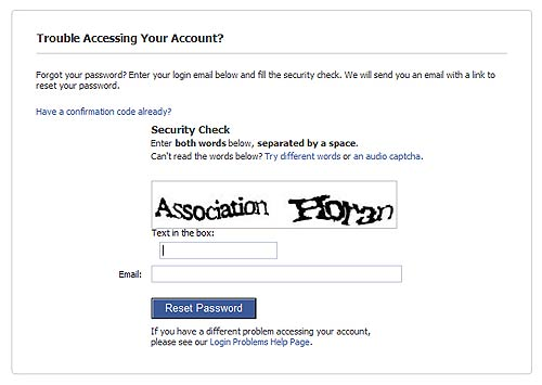 Forgot Password Facebook