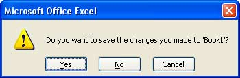 Save Changes Excel 2007