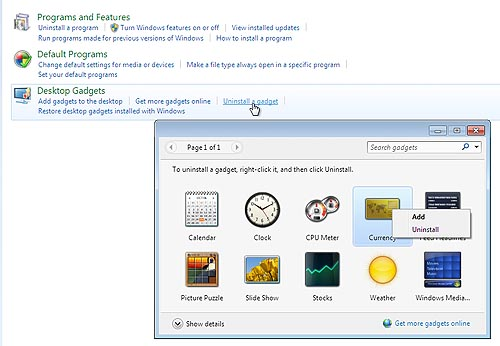 uninstall windows 7 gadgets