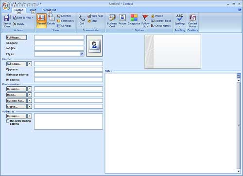 Add new contact Microsoft Outlook 2007