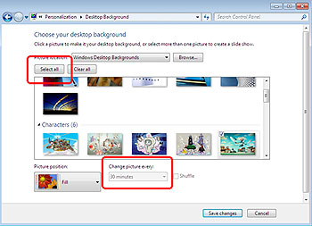 auto change wallapper in Windows 7
