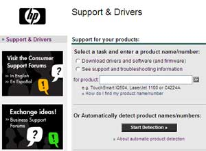 HP Support & Drivers link