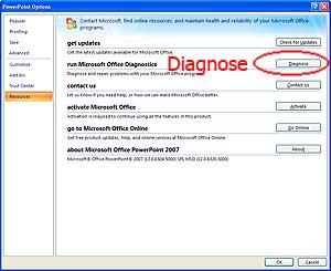 Office 2007 Diagnose