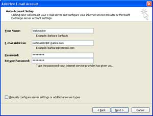 Setup mail in MS Outlook 2007