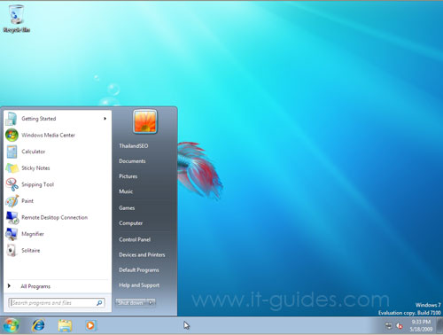 Start buttom in Windows 7